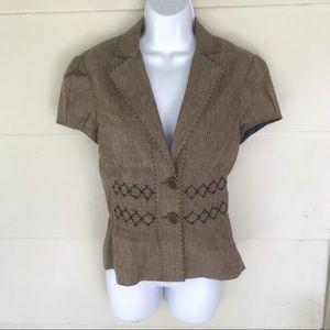 BCBGMaxAzaria   Linen Blend Sz S Flared Jacket Top